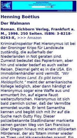 Vorschau der mobilen Webseite buechernachlese.de, Henning Boëtius: Der Walmann