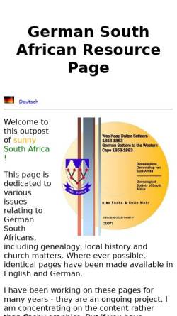 Vorschau der mobilen Webseite www.safrika.org, Deutsche in Südafrika - Familienforschung