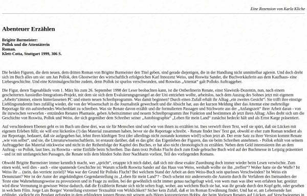 Vorschau von www.luise-berlin.de, Brigitte Burmeister: Pollok und die Attentäterin