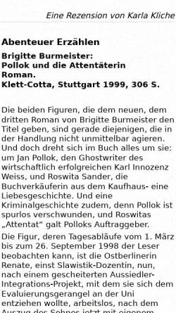 Vorschau der mobilen Webseite www.luise-berlin.de, Brigitte Burmeister: Pollok und die Attentäterin