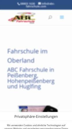 Vorschau der mobilen Webseite www.abc-fahrschule.com, ABC Fahrschule Huber & Hohenadel GbR