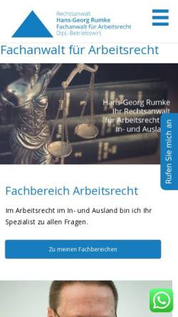 Vorschau der mobilen Webseite fachanwalt-arbeitsrecht.de, Hans-Georg Rumke - Rechtsanwalt