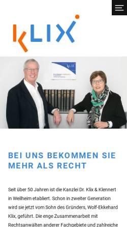 Vorschau der mobilen Webseite www.klix.de, Rechtsanwälte Dr. Klix & Partner