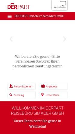 Vorschau der mobilen Webseite www.reisebuero-simader.de, Reisebüro Simader