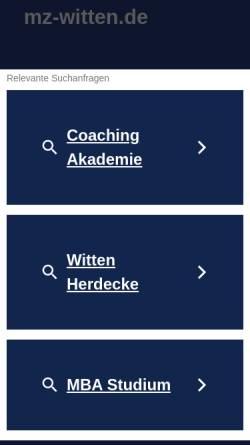 Vorschau der mobilen Webseite www.mz-witten.de, Management Zentrum Witten (MZW) GmbH