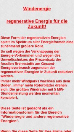 Vorschau der mobilen Webseite www.interrete.de, Windenergie - regenerative Energie für die Zukunft