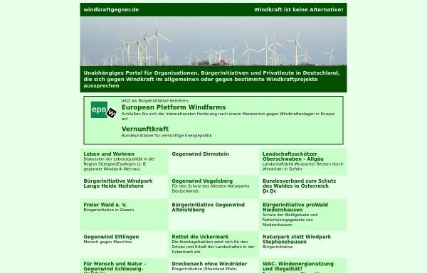 Vorschau von www.windkraftgegner.de, Windkraftgegner im Internet
