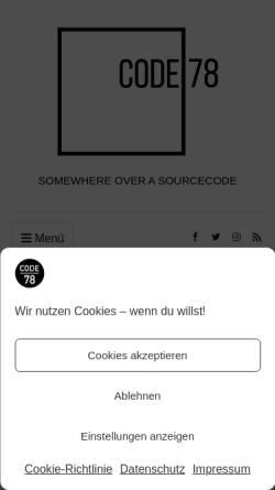 Vorschau der mobilen Webseite www.minus78.de, Minus78