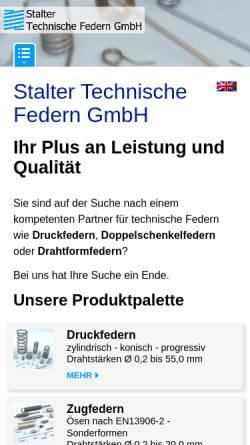 Vorschau der mobilen Webseite www.stalter-federn.de, Stalter Technische Federn GmbH