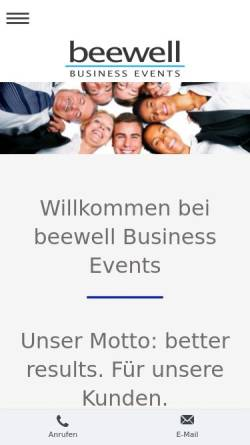 Vorschau der mobilen Webseite beewell.de, Beewell Business Events - Inh. Mireille-Gaby Siebert