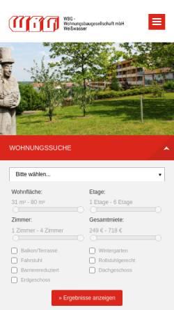 Vorschau der mobilen Webseite www.wbg-weisswasser.de, WBG-Wohnungsbaugesellschaft mbH Weißwasser