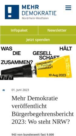 Vorschau der mobilen Webseite nrw.mehr-demokratie.de, Mehr Demokratie in NRW