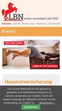 Vorschau der mobilen Webseite www.lbn.de, LBN LehrerBrandkasse Niedersachsen Versicherungsverein a.G.