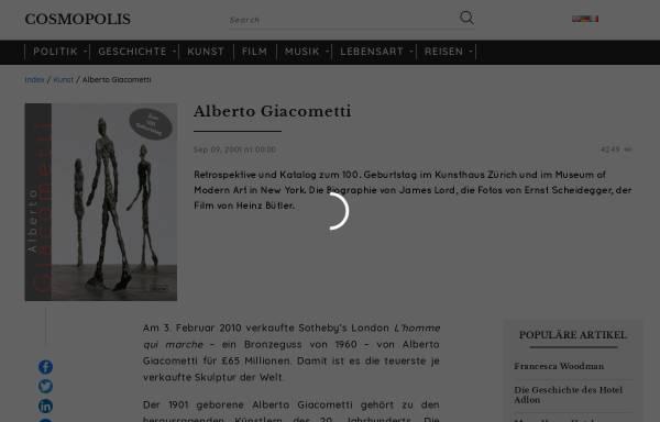 Vorschau von www.cosmopolis.ch, Giacometti, Alberto
