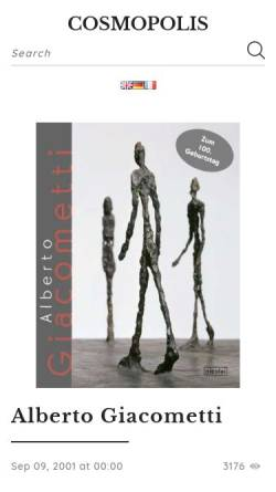 Vorschau der mobilen Webseite www.cosmopolis.ch, Giacometti, Alberto