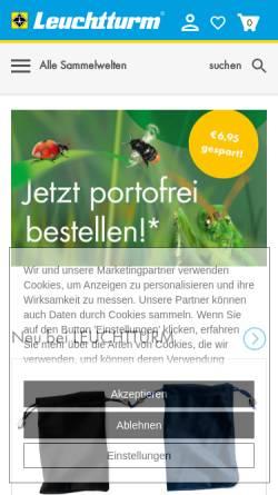 Vorschau der mobilen Webseite www.leuchtturm.de, Leuchtturm Albenverlag GmbH & Co KG