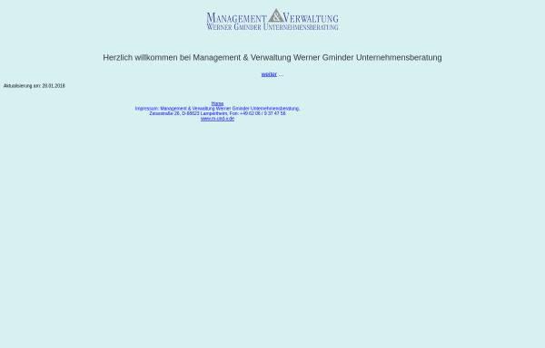Vorschau von www.m-und-v.de, Management & Verwaltung Werner Gminder