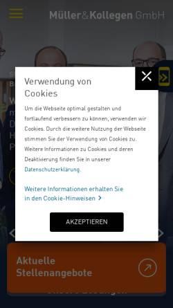 Vorschau der mobilen Webseite www.muellerundkollegen.de, Müller & Kollegen Steuerberatungsgesellschaft GmbH