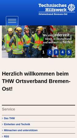 Vorschau der mobilen Webseite www.thw-bremen-ost.de, THW Ortsverband Bremen-Ost