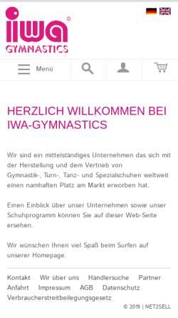 Vorschau der mobilen Webseite www.iwa-gymnastics.de, IWA Ilse Wahl Gymnastikschuhe GmbH & Co.
