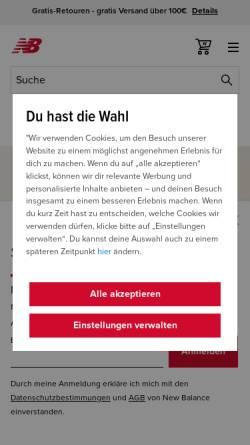 Vorschau der mobilen Webseite www.newbalance.de, New Balance Germany Inc.