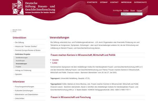Vorschau von www.stiftung-frauenforschung.de, Gender Studies