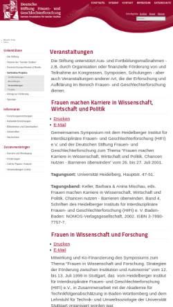Vorschau der mobilen Webseite www.stiftung-frauenforschung.de, Gender Studies