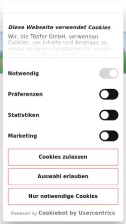 Vorschau der mobilen Webseite www.toepfer-babywelt.de, Töpfer Babynahrung