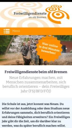 Vorschau der mobilen Webseite www.sfd-bremen.de, SFD - Sozialer Friedensdienst Bremen e.V.
