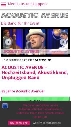 Vorschau der mobilen Webseite www.acousticavenue.de, Acoustic Avenue