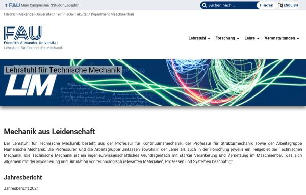 Vorschau von www.ltm.uni-erlangen.de, Lehrstuhl für Technische Mechanik