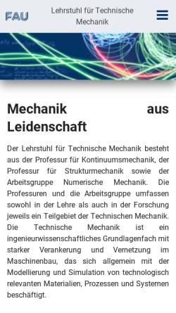 Vorschau der mobilen Webseite www.ltm.uni-erlangen.de, Lehrstuhl für Technische Mechanik