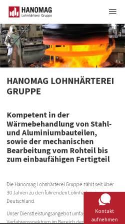 Vorschau der mobilen Webseite www.hanolohn.de, Hanomag Lohnhärterei Unternehmensgruppe