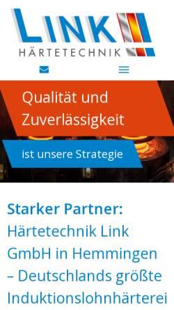 Vorschau der mobilen Webseite www.haerterei-link.de, Härtetechnik Link GmbH