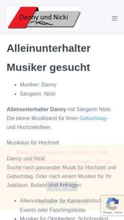 Vorschau der mobilen Webseite www.danny-co.de, Alleinunterhalter Danny