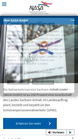 Vorschau der mobilen Webseite www.nasa.de, Nahverkehrsservice Sachsen-Anhalt GmbH (NASA)