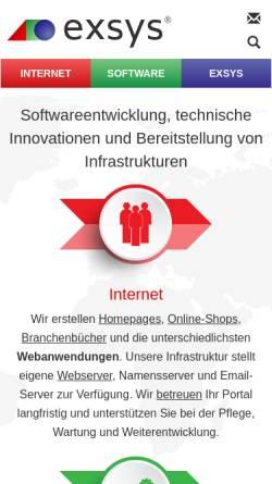 Vorschau der mobilen Webseite www.exsys.net, Exsys Internet+Software UG (haftungsbeschränkt)