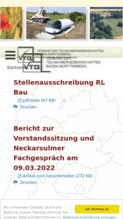 Vorschau der mobilen Webseite www.vtg-bw.de, Verband der Teilnehmergemeinschaften Baden-Württemberg (VTG)