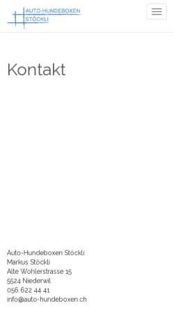 Vorschau der mobilen Webseite www.auto-hundeboxen.ch, Auto-Hundeboxen von Stöckli
