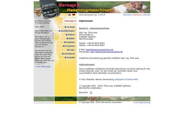 Vorschau von www.hasenzugmaschinen.de, Barsaja E. - Hasenzugmaschinen