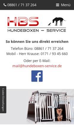 Vorschau der mobilen Webseite www.hundeboxen-service.de, Hundeboxen-Service Bucher und Krause