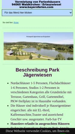 Vorschau der mobilen Webseite www.ferienpark-waldkirchen.de, Ferienpark Jägerwiesen