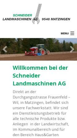 Vorschau der mobilen Webseite www.landmaschinen-schneider.ch, Schneider Landmaschinen