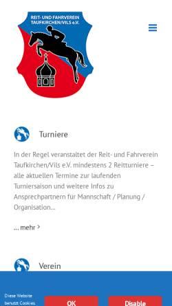 Vorschau der mobilen Webseite www.reitverein-taufkirchen-vils.de, Reit- und Fahrverein Taufkirchen/Vils e.V.