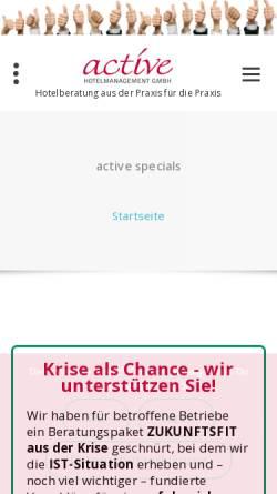 Vorschau der mobilen Webseite www.active-hotelmanagement.com, active Hotelmanagement GmbH