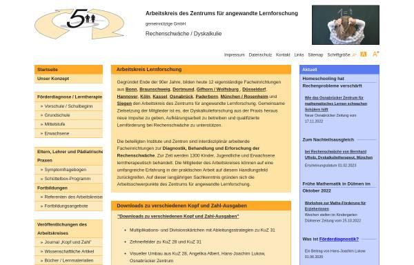 Vorschau von www.arbeitskreis-lernforschung.de, Arbeitskreis des Zentrums für angewandte Lernforschung gemeinnützige Gesellschaft mbH