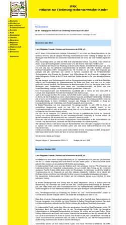 Vorschau der mobilen Webseite www.ifrk-ev.de, Initiative zur Förderung rechenschwacher Kinder e.V.