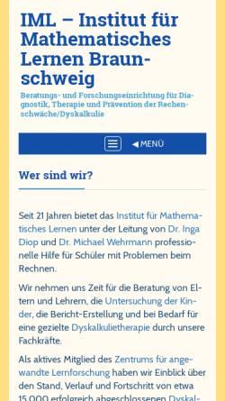 Vorschau der mobilen Webseite www.zahlbegriff.de, Institut für Mathematisches Lernen Braunschweig