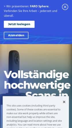 Vorschau der mobilen Webseite www.faro.com, FARO Europe GmbH & Co.KG