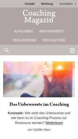 Vorschau der mobilen Webseite www.coaching-magazin.de, Coaching-Magazin - Das Online-Magazin von und für Coaches